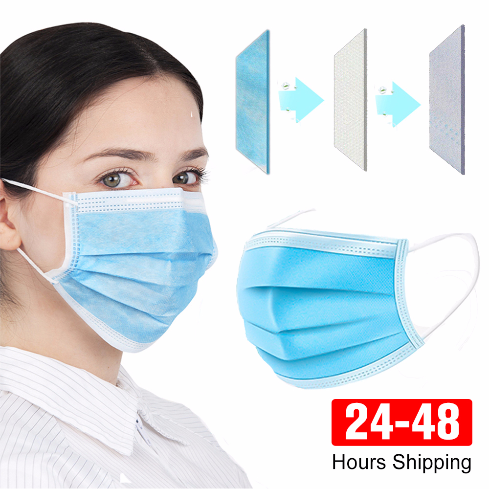 Adult Face Mouth Anti Virus Mask Disposable Protect 3 Layers Filter Dustproof Earloop Non Woven Mouth Masks
