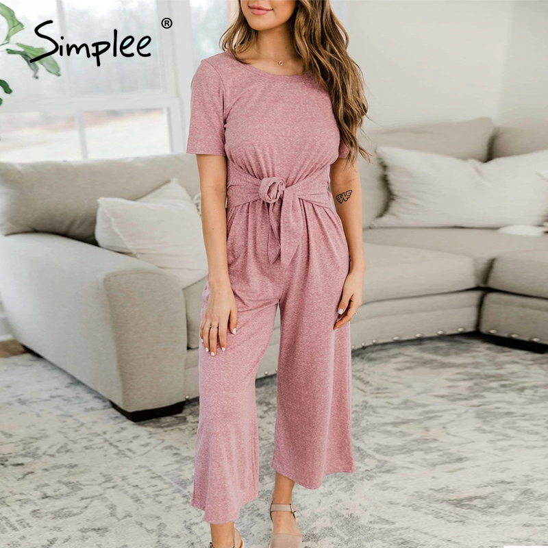Simplee Casual Bandage Rompers Women Jumpsuit Solid O-neck Jumpsuits Loose Wide Leg Jumpsuits Ladies Summer Short Sleeve Rompers