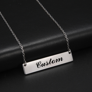 LIKGREAT Name Customized Women Bar Pendant Necklace Chocker Stainless Steel Personlized Fashion Jewelry Gift