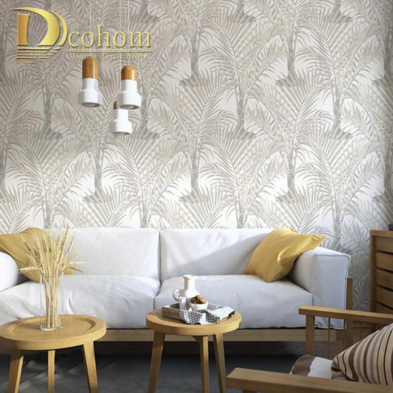 Bunga Hutan Tanaman Alami Non-woven Dinding Kertas Hijau Hutan Tropis Pohon Palem Daun Hutan Wallpaper Roll untuk Anak kamar