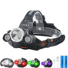 LED Headlamp White/Red/Green/UV Light Outdoor Headlight 3 LED 3 Modes Waterproof USB Flash Head Lamp Torches Lantern For Hunting sipids s10 1 led white 2 led red 2 mode headlamp black fluorescent green 3 x aaa