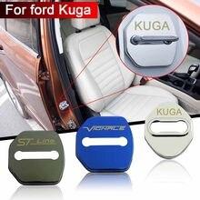 4 pçs de aço inoxidável porta do carro bloqueio capa acessórios do carro etiqueta do carro para ford kuga vignale stline 2013-2020 adesivos de carro
