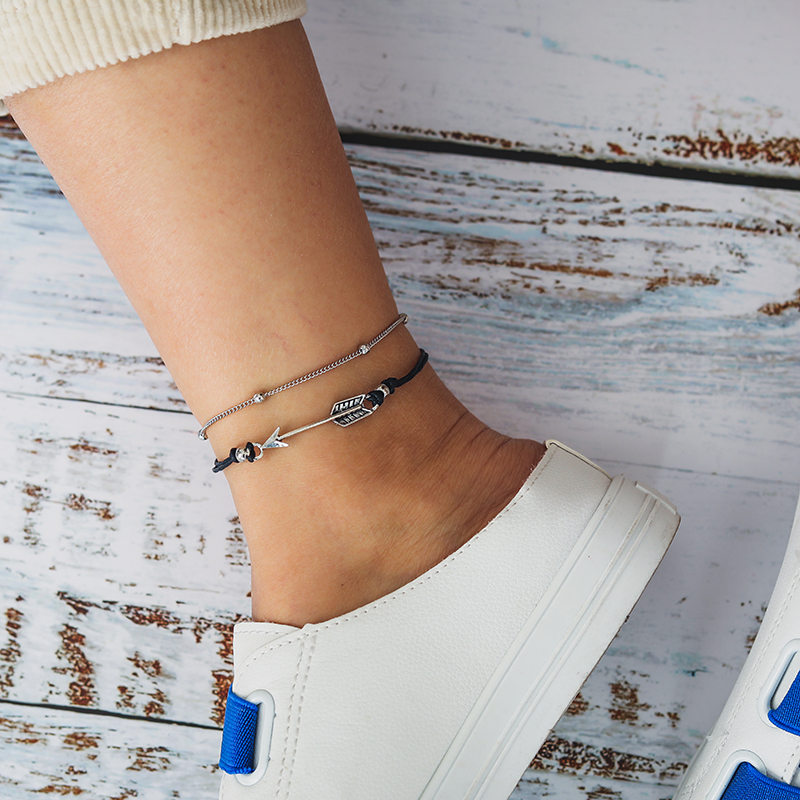 docona Bohemian Black Rope Arrow Sun Charms Anklet for Women Multilayer Adjustable Foot Chains Beach Jewelry Tobilleras 8306