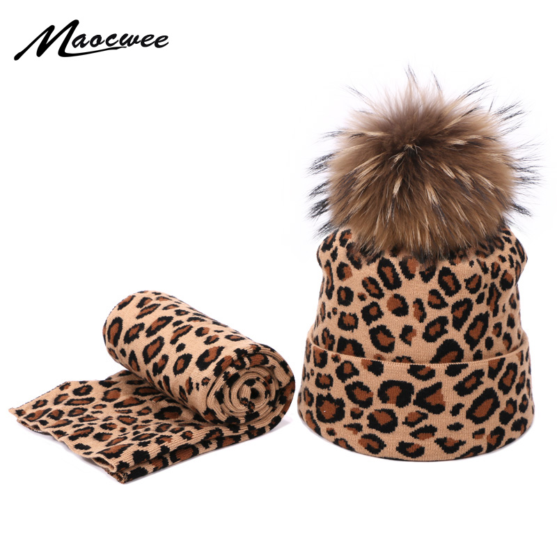 Leopard Printed Beanie Hats Scarf Set With Real Fox Pompon For Women Winter Warm Thick Knitted Caps Fashion Lady Beanies 2 Piece