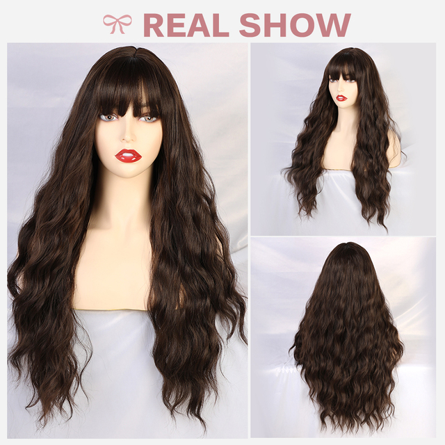 JONRENAU Long Water Wave Hair Women Fashion Wig with Bang  Heat Resistant Synthetic Wigs for African American
