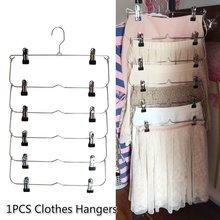 1PC multicapa perchas de ropa con 12 Clips ropa Rack de almacenamiento soporte de armario plegables pantalones de ropa de Metal falda Rack