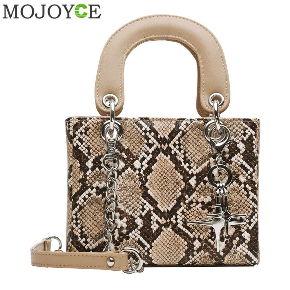 Ladies Fashion Small Flap Snake Print Shoulder Handbags Women Female PU Leather Chain Casual Crossbody Top-handle Messenger Bags