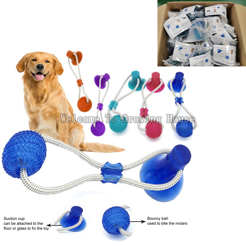 Brinquedo interativo do animal de estimação do divertimento com o brinquedo do impulso do cão do copo da sução com a limpeza do dente do animal de estimação da bola de tpr, mastigando, jogando, brinquedos do filhote de cachorro da bola do deleite do ...