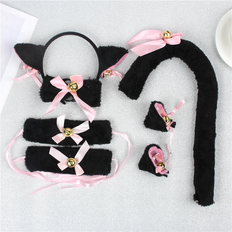 5PCS Women Girls Cute Cat Ears Headwear Headband Lovely Cosplay Bowknot Patchwork Plush Soft Headwear Chocker Lace-up Hair Wear