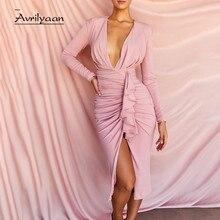 Avrilyaan-vestido Midi plisado para mujer, vestido elegante rosa con escote en V profundo, Vestidos de fiesta para discoteca 2021
