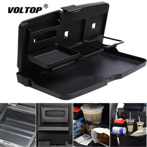 Image 2 - Universal Car Cup Holder Organizer Car Front Seat Back Table Drinks Folding Cup Holder Stand Desk Black Trays