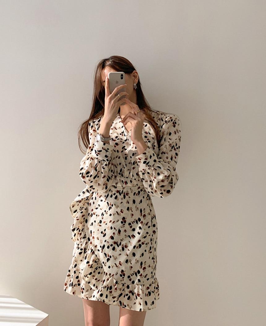 H36643600bad244689511a35cc9bd7b83N - Autumn V-neck Long Sleeves Floral Print Flounced Mini Dress