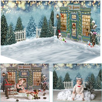 Mocsicka Christmas Toy Store Photography Backdrops Winter Snow Pine Bokeh Photocall Background Photo Studio Snowman Decoration