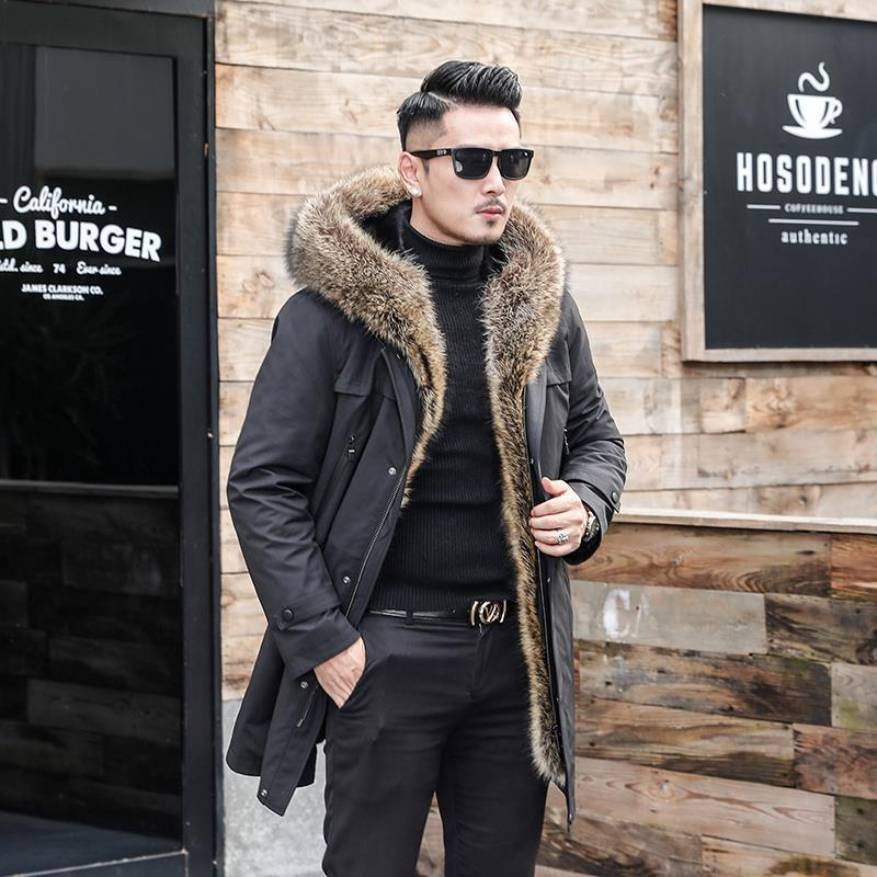First Elegant Superior Quality Send Overcome Long Fund Mink Raccoon Mao Ni Serve Men's Wear Leather And Fur Loose Coat Black 602