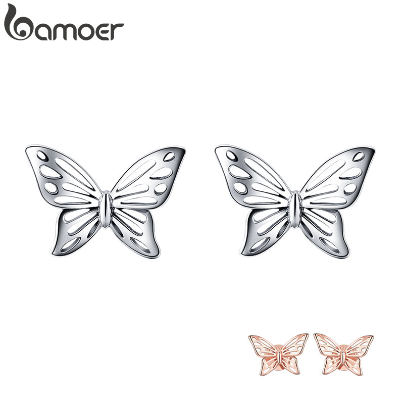 BAMOER Insect Collection 925 Sterling Silver Butterfly Dream Exquisite Stud Earrings For Women Sterling Silver Jewelry SCE452