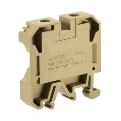 Uxcell SAK 6EN szyna DIN zacisk blok 800V 41A brązowy dla 24 10 AWG  10 sztuk SAK16EN 25 sztuk w Złącza od Lampy i oświetlenie na