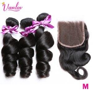 Vanlov Loose Wave Bundles With Closure Human Hair 3 Bundles With Lace Closure 4 pcs/lot Brazilian Hair Weave Bundles Remy Hair