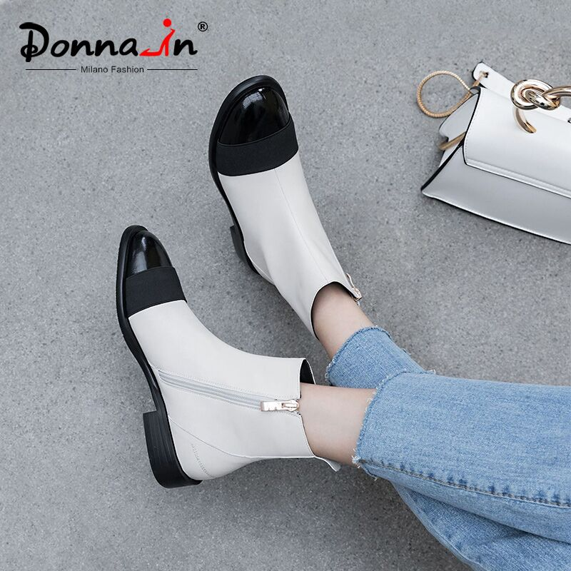 Botas de tobillo de mujer de cuero genuino de vaca Donna in negro blanco mezclado Color cremallera botas planas de tacón bajo Casual señoras zapatos de otoño-in Botas hasta el tobillo from zapatos    1