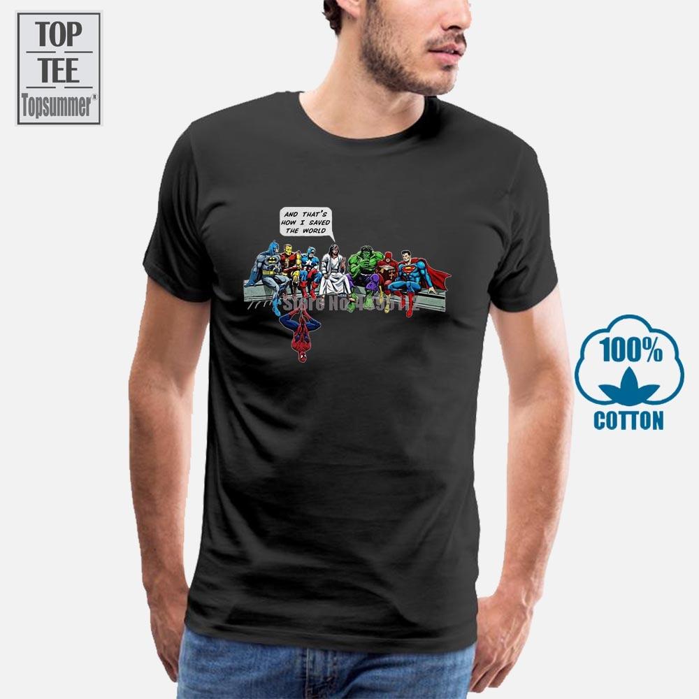И вот как я сэкономил мир, футболка с Иисусом и супергероями Кристиан, новинка 011118