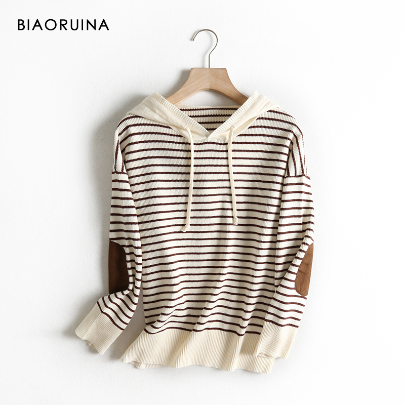 BIAORUINA Women's Preppy Style Stripes Hooded Sweatshirt Female Casual All-match Loose Hoodies Fashion Patchwork Pullovers
