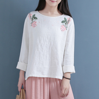 Linen Tees Tops Long Sleeve Autumn Embroidery Flower Floral Tshirt Femme Round Neck Comfort Casual Vintage T Shirt Roupas Mujer