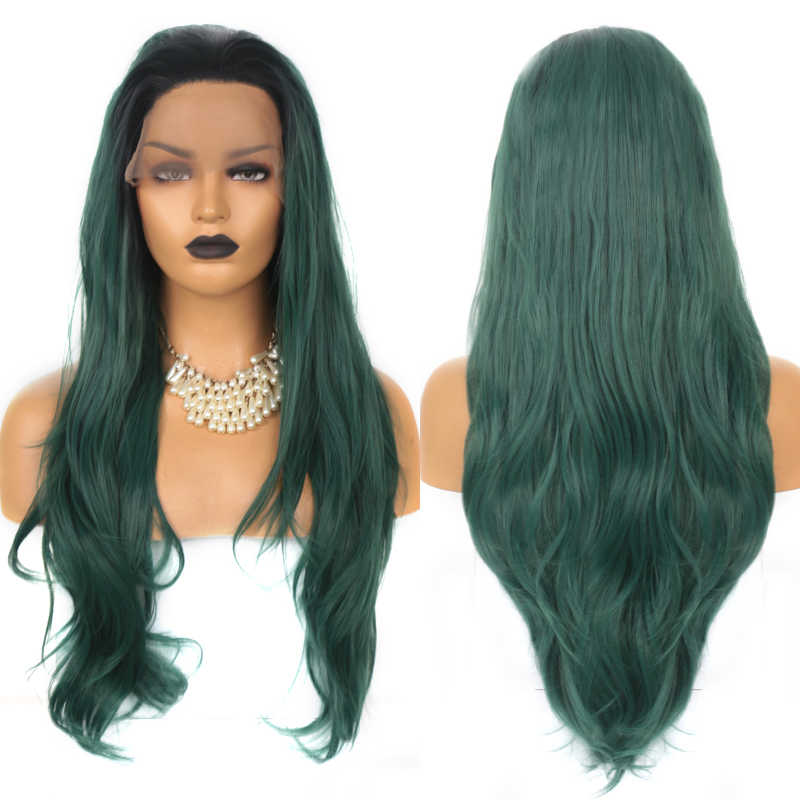 Charisma Ombre Green Wig Heat Resistant Fiber Hair Synthetic Lace Front Wig Long Wavy Hair Free Part Ombre Wigs for Women