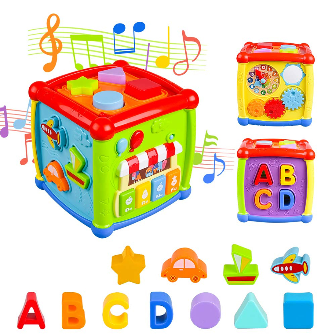 2019 Multifunctional Musical Toys Toddler Baby Box Music Activity Cube Gear Clock Geometric Blocks Sorting Educational Toys