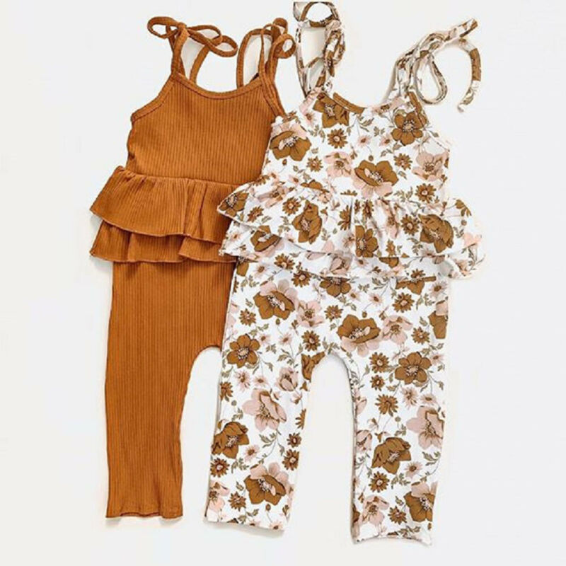 Infant Baby Girl Clothes Ruffle Romper Jumpsuit Floral Holiday Outfit 0-24M