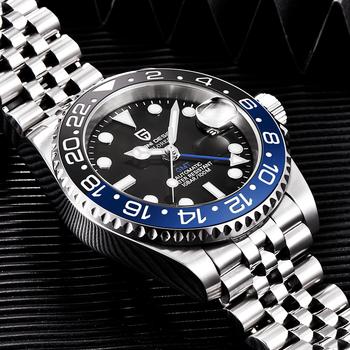 PAGANI DESIGN GMT męski zegarek mechaniczny 100M wodoodporny Top marka luksusowe szafirowe szkło biznes męski zegarek ze stali nierdzewnej tanie i dobre opinie 10Bar CN (pochodzenie) Składane bezpieczne zapięcie BIZNESOWY Samoczynny naciąg 22cm STAINLESS STEEL Odporna na wstrząsy