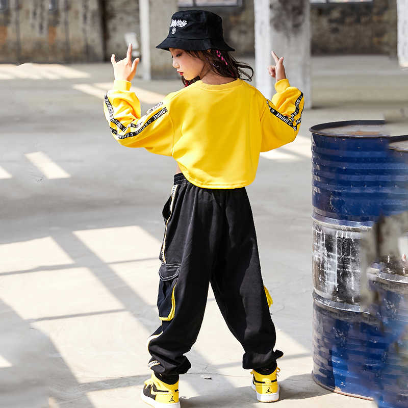 Kinderen Hip Hop Kleding Meisjes Jazz Street Dance Kostuum Kids Sweatshirt Broek Set Ballroom Dancewear Stage Rave Kleding DQS352