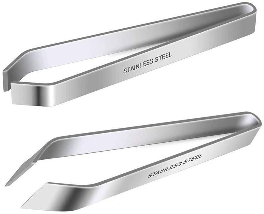 "2 Pieces Fish Bone Tweezers  Stainless Steel Flat and Slant Tweezers Pliers Remover Tool (4.6"")|Seafood Tools| |  - title="