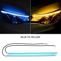 Luz de circulación diurna ultrafina para coche, tira de luces LED de tubo Flexible y suave, señal de giro blanca y roja, faro amarillo