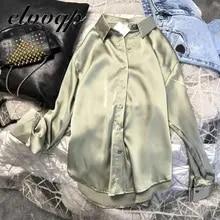 Nova primavera outono moda feminina mangas compridas blusa de cetim vintage femme oversized camisas de rua elegante imitação de seda blusa