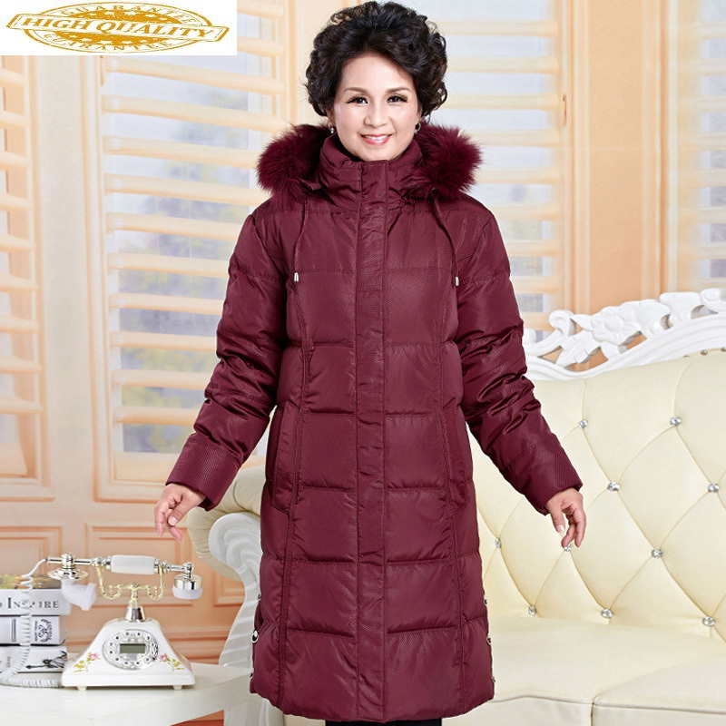 Female Down Jacket Plus Size Warm Winter Coat Jackets For Elderly Women Parkas Mujer 2019 Long Coats Abrigos Mujer KJ485