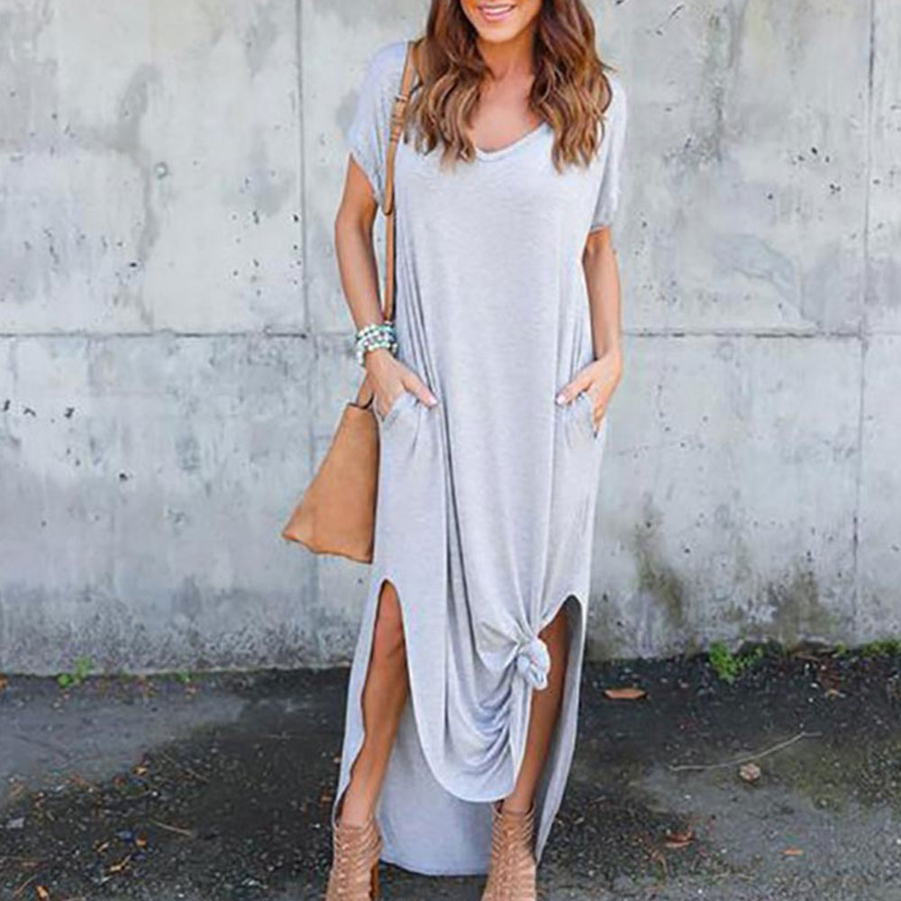 GRECERELLE Women's Casual Loose Pocket Long Dress Short Sleeve Split Maxi Dresses 3