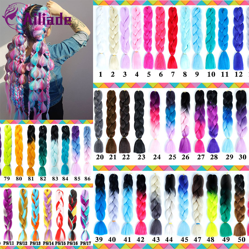 AILIADE 24 Inch 1 Pack Ombre Hair Bundles Synthetic Jumbo Braiding Hair Kanekalon Crochet Purple Rainbow Fake Hair Extensions