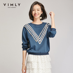 Vimly Sweatshirt For Women Spring Autumn Casual O-neck Patchwork Loose Hoodies Harajuku Streetwear Pullover Clothes F3722