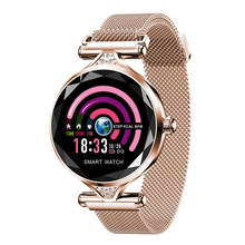 Women Fashion Smart Watch H1 Blood Pressure Heart Rate Monitor Fitness Tracker Bracelet Smartwatch Diamond Flower Color Screen(China)