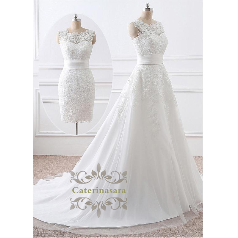 2 In 1 Removable Skirt Wedding Dresses A-Line Lace Appliques Bride Gown Short Or Long Train For Bride Wedding Wear Vestido Noiva