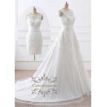 2 in 1 이동식 치마 웨딩 드레스 a 라인 레이스 아플리케 신부 가운 짧은 또는 긴 기차 신부 웨딩 착용 Vestido Noiva