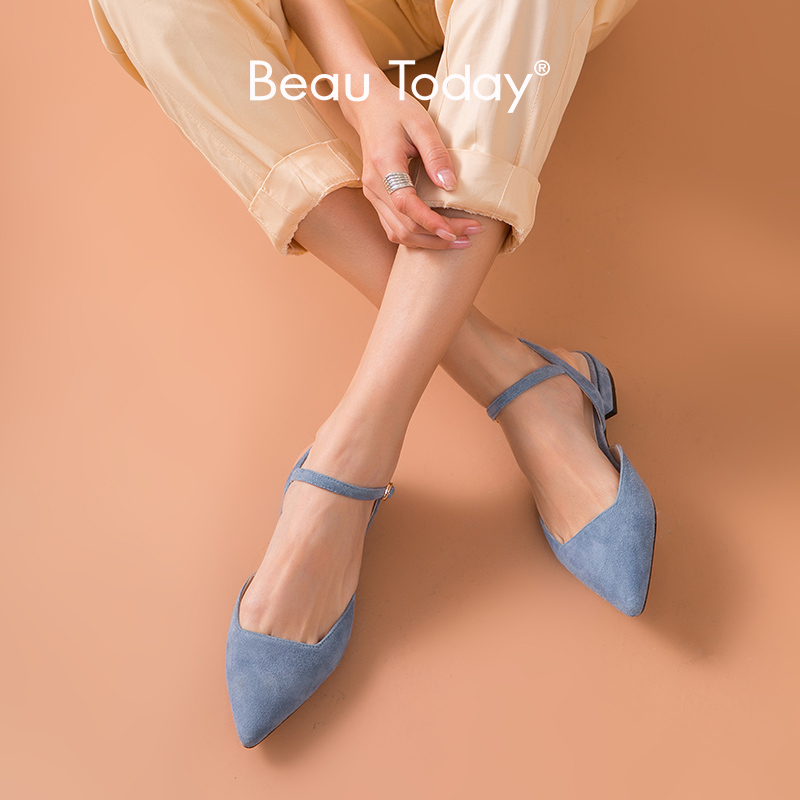 BeauToday Flat Sandals Women Genuine Leather Kid Suede Pointed Toe Buckle Strap Ladies Summer Shoes Handmade 32094