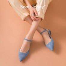 BeauToday sandały na płaskim obcasie kobiety prawdziwej skóry Kid Suede Pointed Toe pasek z klamrą damskie buty na lato Handmade 32094