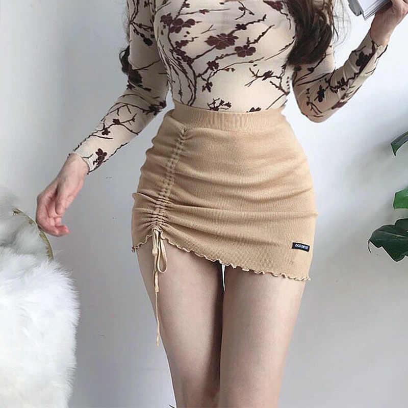 뜨개질 Drawstring 엉덩이 패키지 여성 스커트 섹시한 높은 허리 곡선 밑단 미니 스커트 여성 2020 여름 패션 숙녀 하의