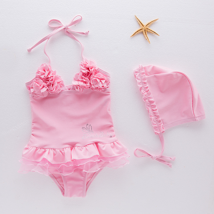 One-piece Ballet Pink Flower KID'S Swimwear Hot Springs Tour Bathing Suit