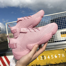 Sneakers Women Mesh Lace-Up Solid Flat Platform Shallow Stretch Fabric Knited Sp