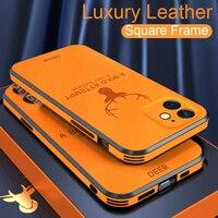 Custodia in pelle di lusso con struttura quadrata per iPhone 12 11 Pro Max Mini X Xr Xs custodia protettiva per telefono antiurto per cervi