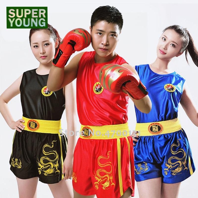 Kick Boxing Training Uniform Men Women MMA Shirt Muay Thai Shorts Boy Girl Children Sanda Grappling Kids Fight Wear Clothes Suit