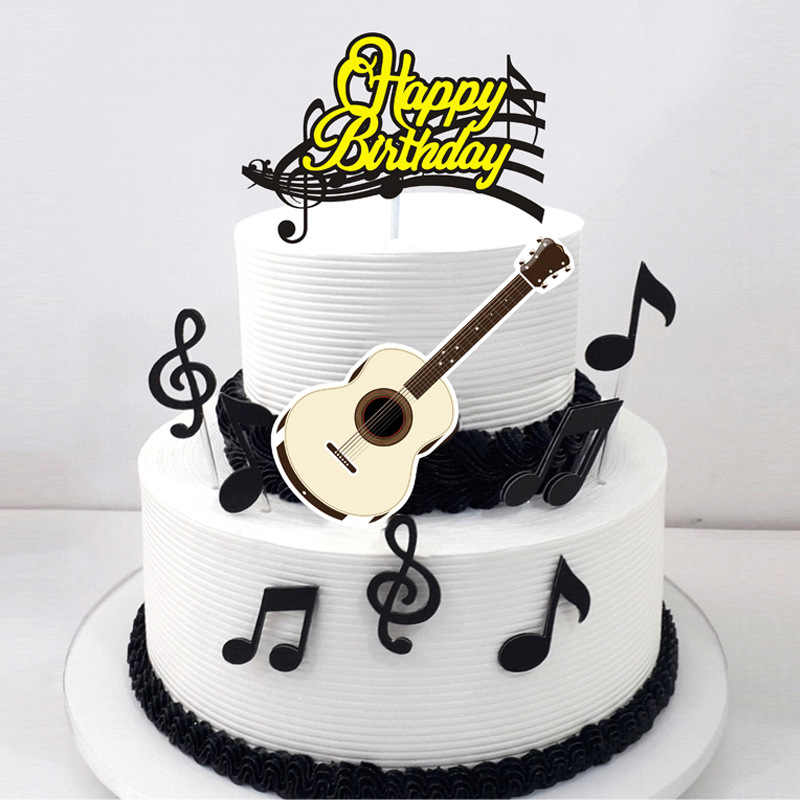 Groovy 1Set Musical Note Happy Birthday Cartoon Cake Topper Cupcake Flag Funny Birthday Cards Online Alyptdamsfinfo