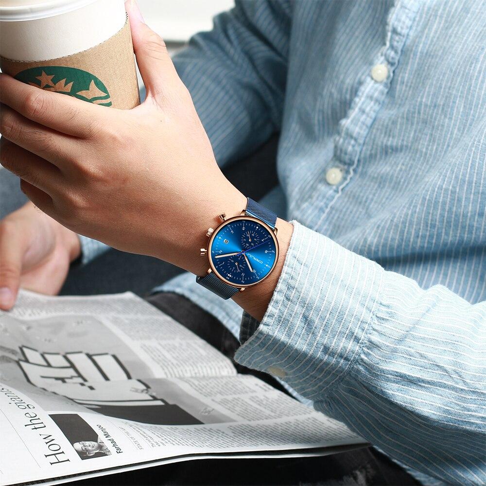 Image 5 - relogio masculino CRRJU Top Brand Luxury Men Stainless Steel WristWatch Mens Waterproof Calendar Chronograph Quartz watchesQuartz Watches   -