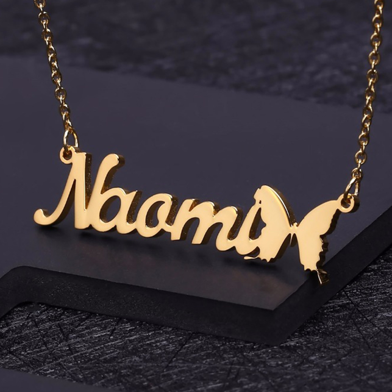 LAOFU Name Necklace 18K Gold Plated Customized Necklace with Butterfly Personalized Nameplate Jewelry Gifts for Women